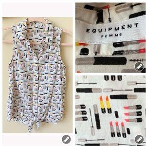 Equipment Femme 💋lipstick print tie front top 867